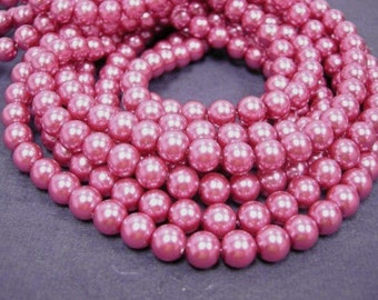 50pc 8mm glass pearl round beads-1010H-PINK