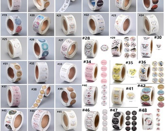 """1 inch 1 roll of 500pcs"""" Thank you""""  stickers, Small business stickers -pls pick a pattern"""
