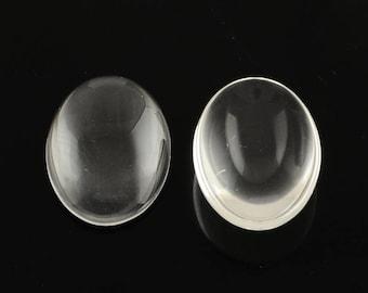 12pc 14x10mm translucent oval shape glass cabochon-7085c