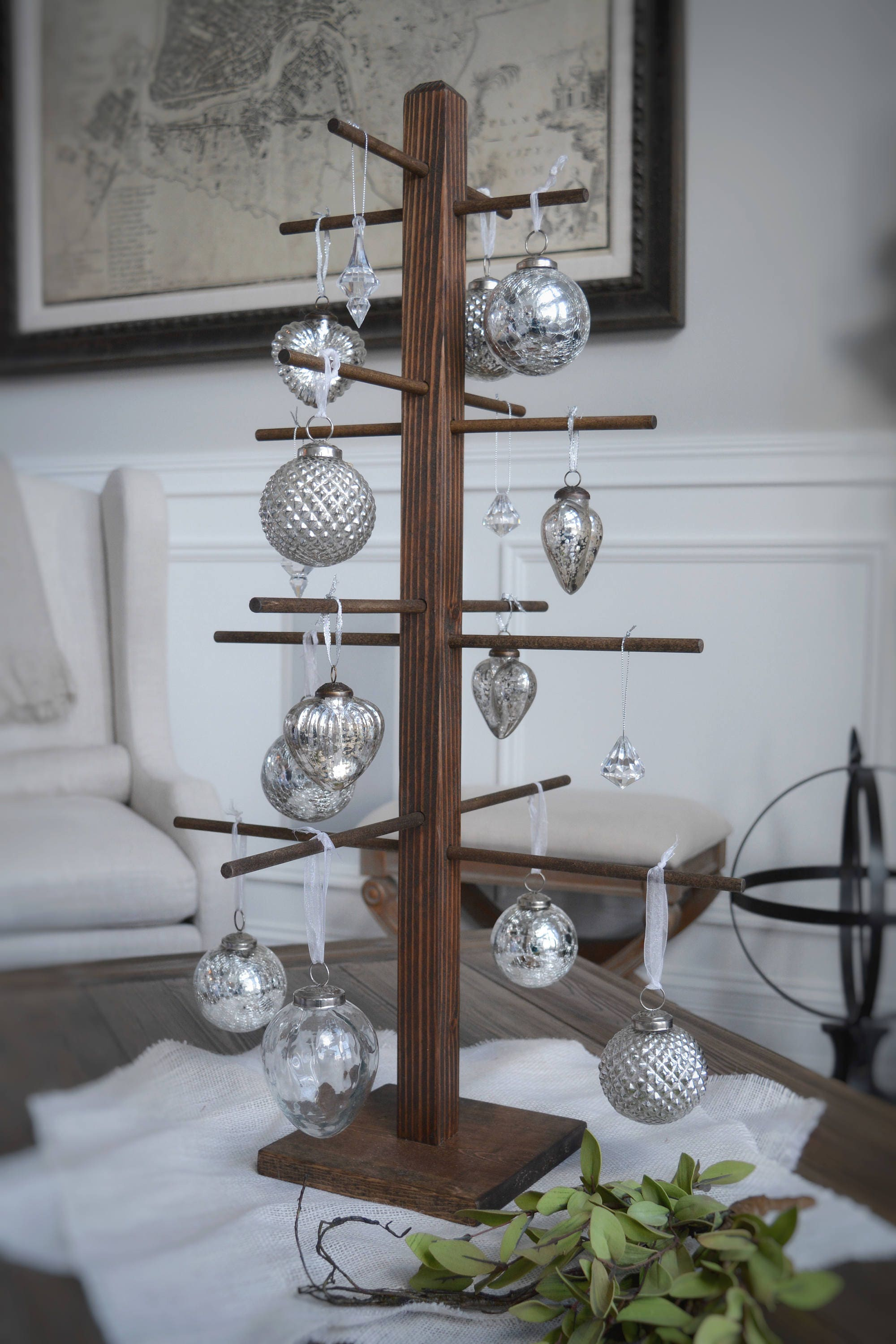 Rustic Stained Christmas Tree Ornament Holder Display ...