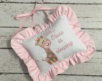 Shhh Pillow-Doorknob Personalized Pillow-Baby Sleeping Door Pillow Giraffe
