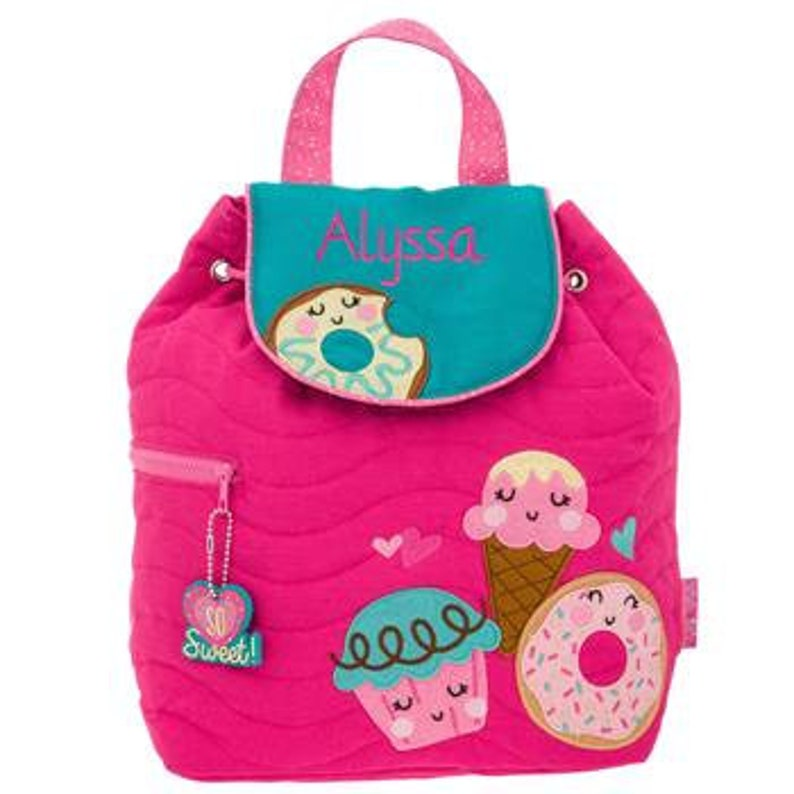 Personalized Stephen Joseph Donut Quilted Backpack