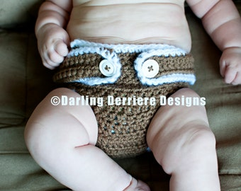 Instant Download Baby Button Strap Crochet Diaper Cover Pattern