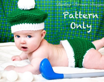 Instant Download PDF Golf Baby Crochet Diaper Cover and Hat PDF PATTERN