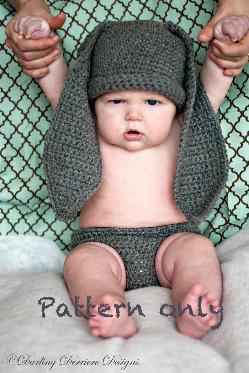 25b2e0710 Instant Download PDF Bunny Hat, Diaper Cover, and Tail Crochet Pattern