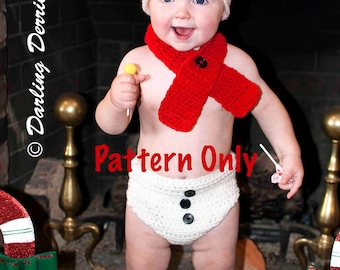 PDF Instant Download Baby Snowman Hat, Scarf, and Diaper Cover Crochet Pattern