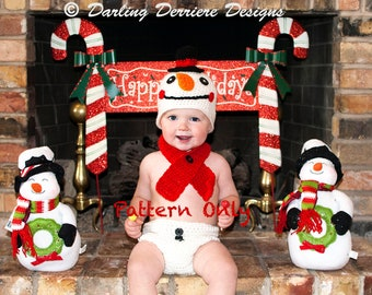 Instant Download PDF Baby Snowman Hat, Scarf, and Diaper Cover Crochet Pattern