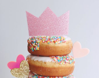 Pink glitter crown perspex cake topper decoration