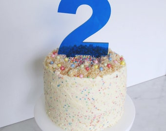 Navy blue perspex number cake topper decoration