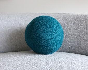 Ball cushion - blue green boucle