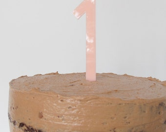 Blush pink plexiglass number cake topper decoration