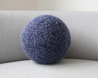 Ball cushion - navy and light blue boucle
