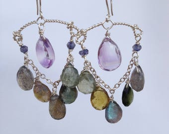 Amythyst and sapphire chandelier earrings