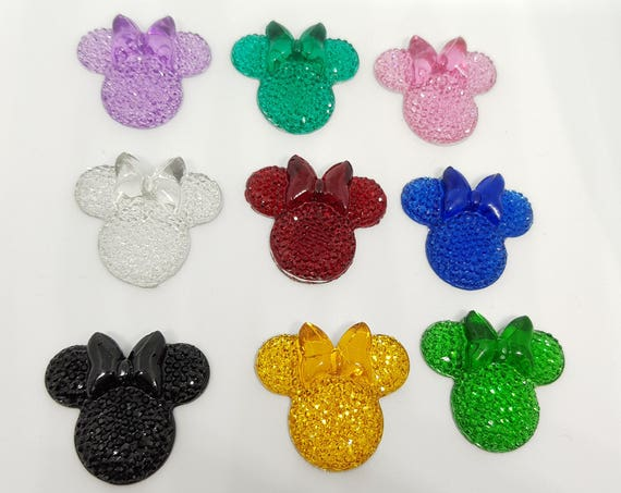 MajorCrafts® 6pcs Mixed Colours 28mm Flat Back Mouse Head & Bow Resin Rhinestones Gems