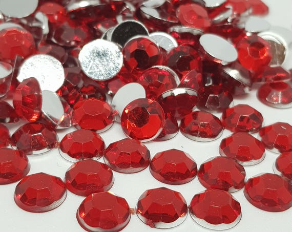 MajorCrafts® 120pcs 10mm Ruby Red Flat Back Taiwan Acrylic Rhinestones Gems C5