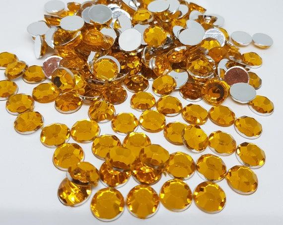 MajorCrafts® 120pcs 10mm Yellow Gold Flat Back Taiwan Acrylic Rhinestones Gems C2