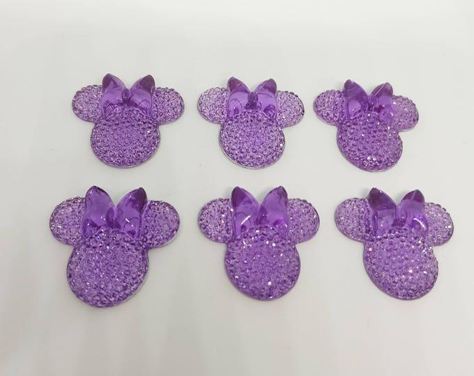 MajorCrafts® 6pcs Light Purple 28mm Flat Back Mouse Head & Bow Resin Rhinestones Gems