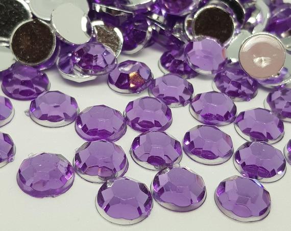 MajorCrafts® 120pcs 10mm Iris Purple Flat Back Taiwan Acrylic Rhinestones Gems C7
