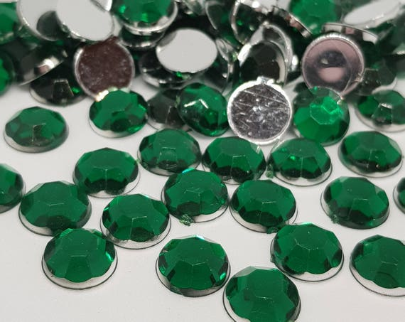 MajorCrafts® 120pcs 10mm Dark Green Flat Back Taiwan Acrylic Rhinestones Gems C10