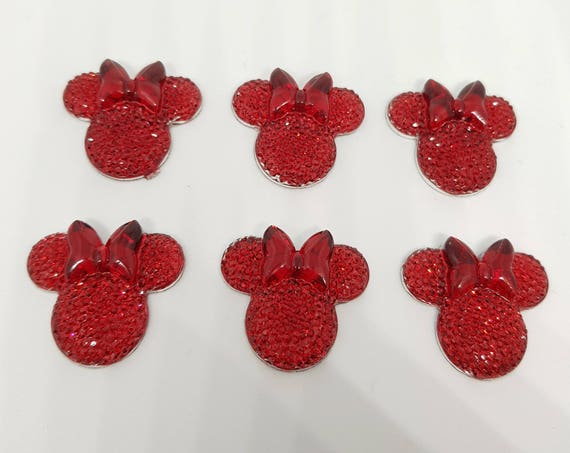 MajorCrafts® 6pcs Red 28mm Flat Back Mouse Head & Bow Resin Rhinestones Gems
