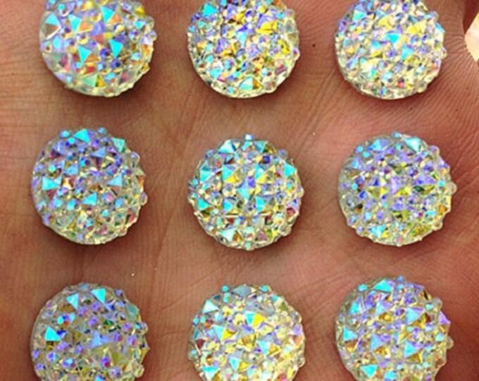 MajorCrafts® Crystal AB Flat Back Round Resin Rhinestones Embellishment Gems