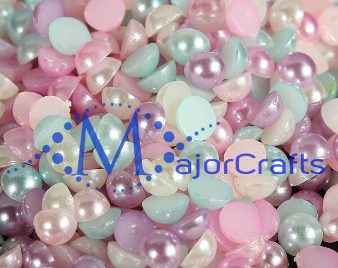 100pcs 11mm Pastel Mixed Colours Flat Back Half Round Resin Pearls Craft Gems