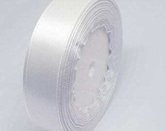 MajorCrafts® 20mm 22metres White Single Sided Satin Fabric Ribbon Roll R01
