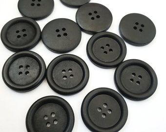 MajorCrafts® 14pcs 30mm Black 4 Holes Large Round Wood Sewing Craft Buttons