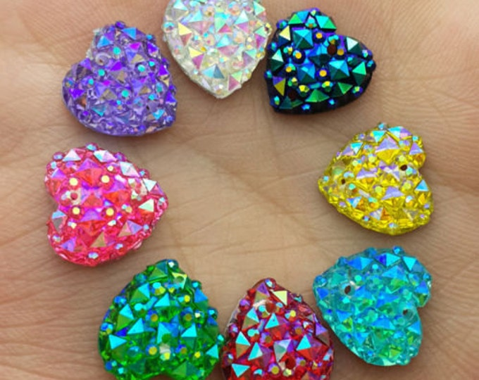 Mixed AB Flat Back Heart Sew On Resin Rhinestones Embellishment Gems
