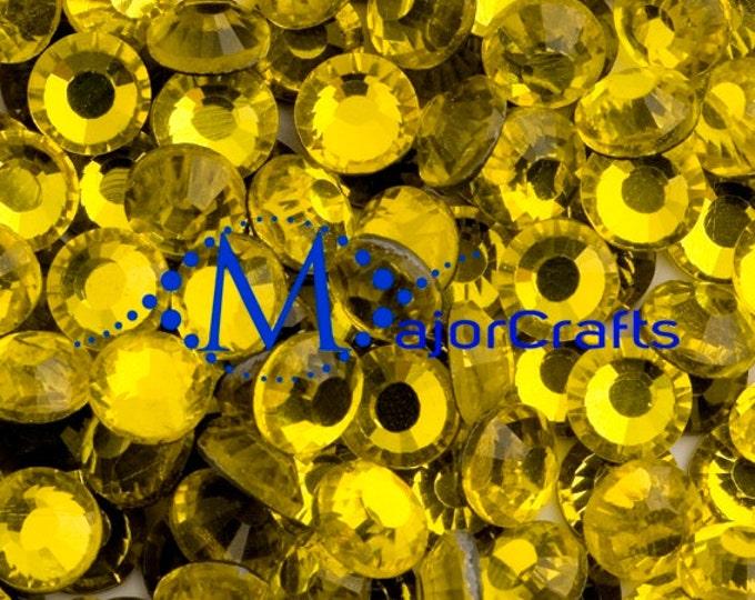 Citrine Yellow Flat Back DMC A+ Quality Glass Cut Hotfix Diamante Rhinestones C26