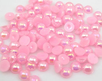 MajorCrafts® Light Pink AB Flat Back Half Round Resin Pearls C07