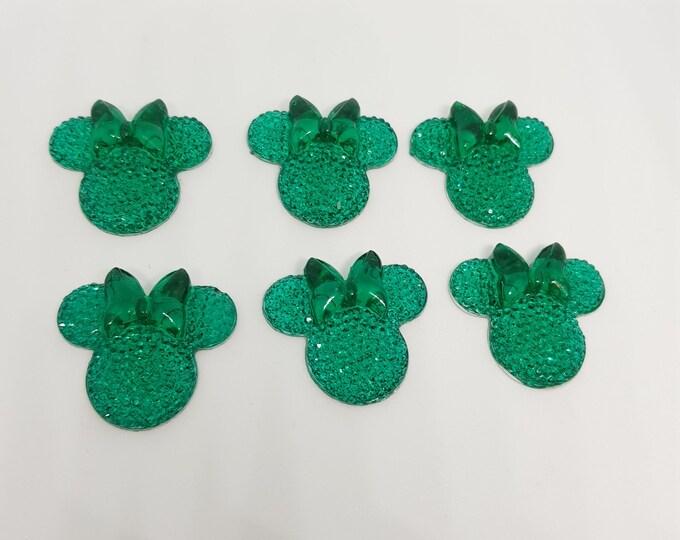 MajorCrafts® 6pcs Jade Green 28mm Flat Back Mouse Head & Bow Resin Rhinestones Gems