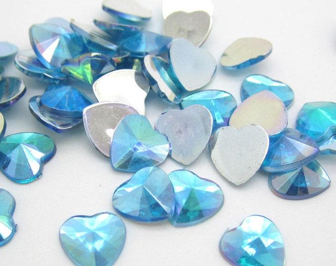 Sky Blue AB Heart Flat Back Pointed Rivoli Resin Rhinestones Embellishment Gems C15