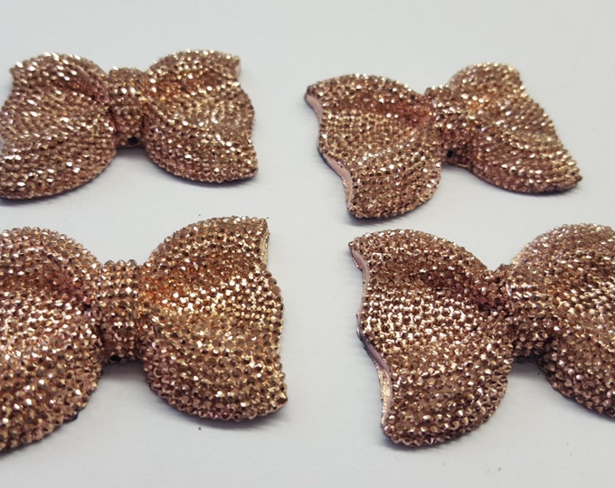 MajorCrafts® 3pcs 54mm Copper Gold Large Flat Back Chunky Resin Rhinestone Embellishment Bows C14