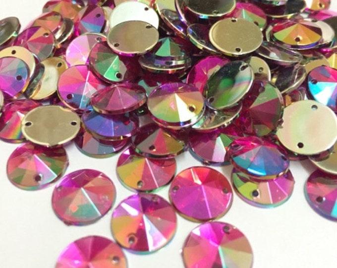 Rose Pink AB Round Flat Back Pointed Sew On Rivoli Acrylic Rhinestones Embellishment Gems C2