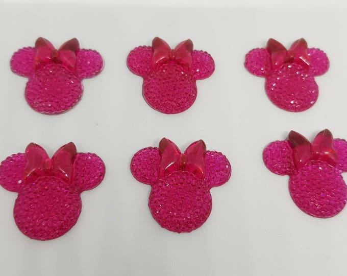 MajorCrafts® 6pcs Dark Pink 28mm Flat Back Mouse Head & Bow Resin Rhinestones Gems