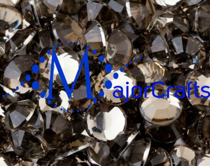Black Diamond Flat Back Round Resin Rhinestones Embellishment Gems C17