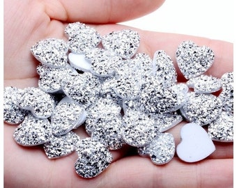 MajorCrafts® 30pcs 14mm Silver Flat Back Heart Glitter Resin Rhinestones Gems