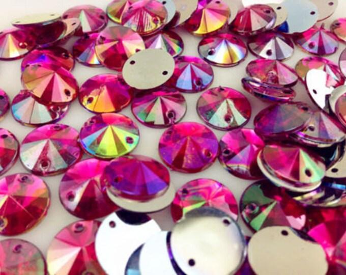 Rose Pink AB Round Flat Back Pointed Sew On Rivoli Resin Rhinestones Embellishment Gems C6