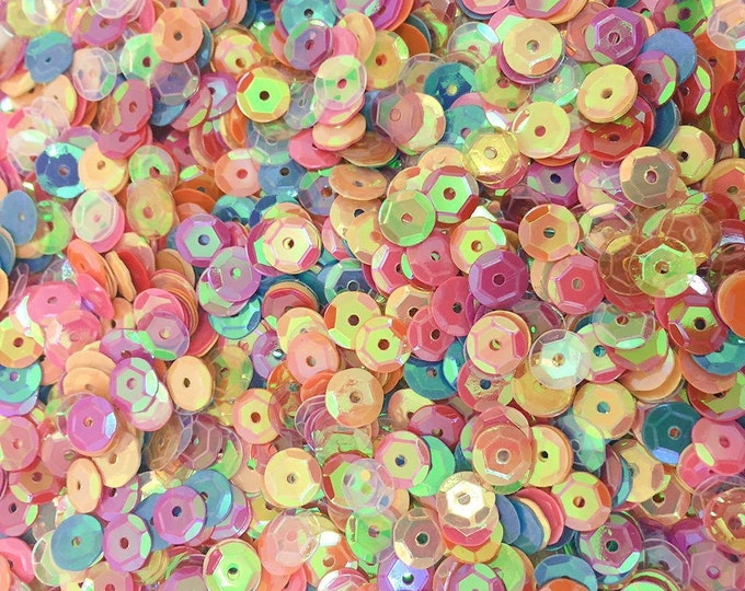 Mixed AB Round Loose PVC Sew On Cup Sequins Paillette Embellishments C1