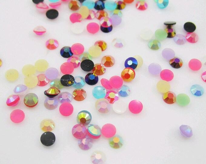 Mixed AB Colours Flat Back Round Resin Rhinestones Embellishment Gems C56