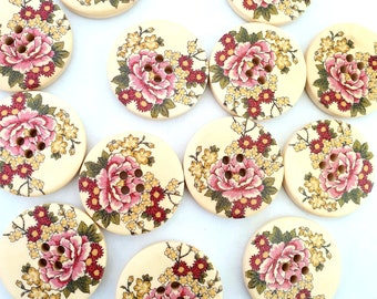 MajorCrafts® 14pcs 30mm Red Yellow Carnation Flower Pattern 4 Holes Sewing Round Large Wood Buttons