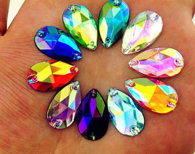 50pcs Mixed AB 18mm*11mm Flat Back Tear Drop Sew On Acrylic Rhinestones Embellishment Gems