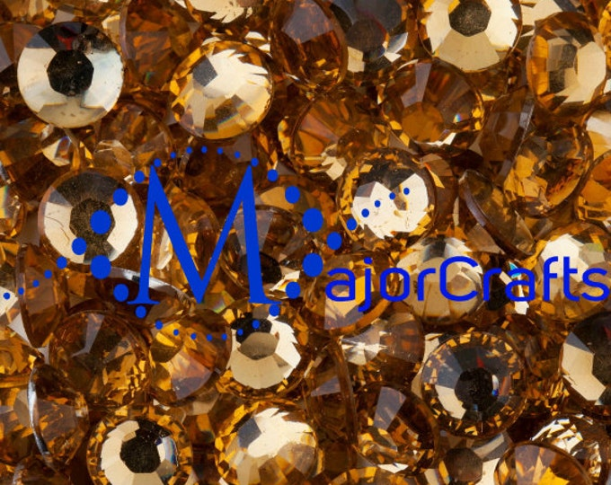 Light Brown Flat Back Round Resin Rhinestones Embellishment Gems C19