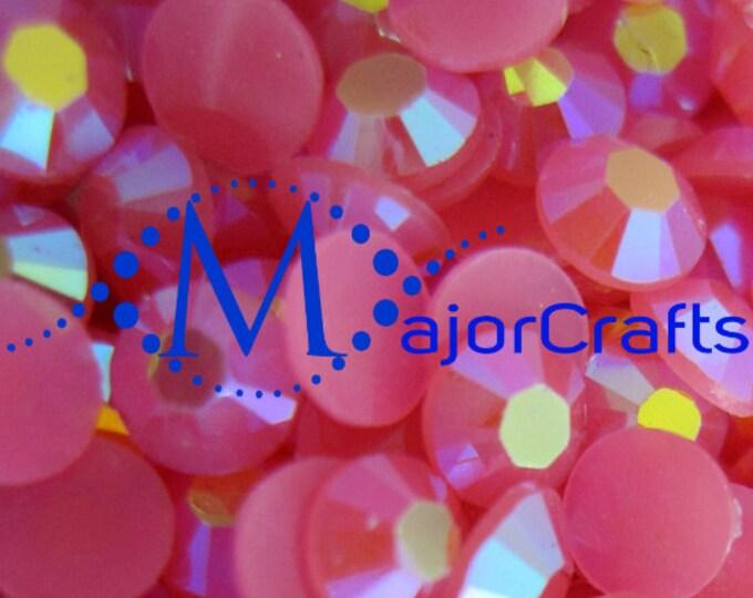 Hot Pink AB Flat Back Round Resin Rhinestones Embellishment Gems C49