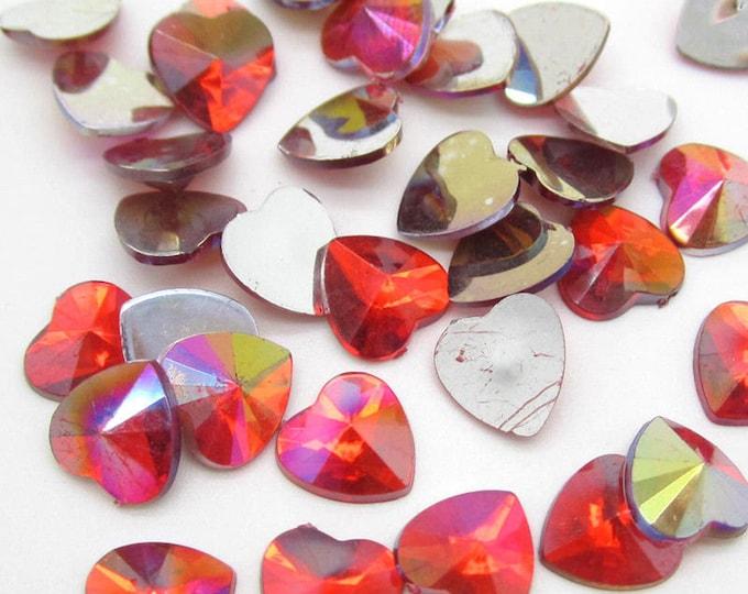 Red AB Heart Flat Back Pointed Rivoli Resin Rhinestones Embellishment Gems C17