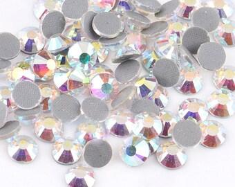 Blue Crystal AB  Flat Back DMC A+ Quality Glass Cut Hotfix Diamante Rhinestones C3