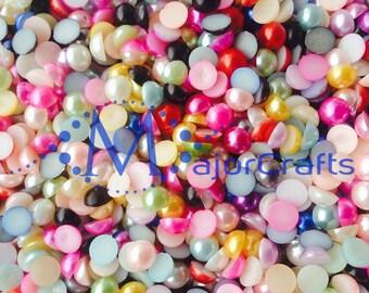 MajorCrafts® 100pcs 10mm Light Purple AB Flat Back Half Round Resin Pearls C11