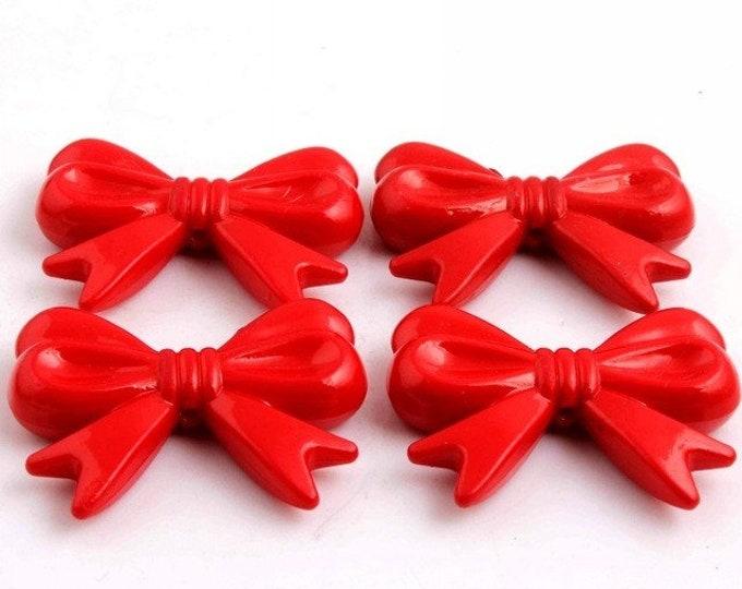 MajorCrafts® 4pcs Red 46*36mm Large Chunky Acrylic Embellishment Bows C15
