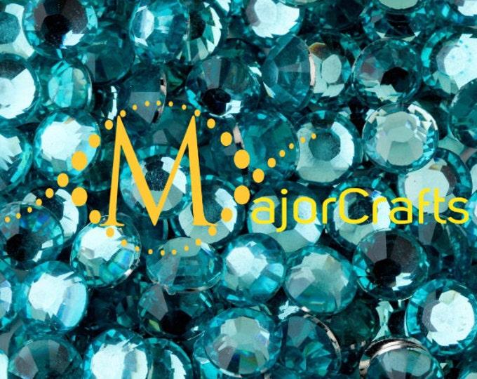 Turquoise Blue Flat Back Round Resin Rhinestones Embellishment Gems C41